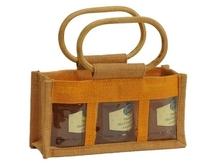 Geschenktasche Jute 3-Gläser 250Gr m. Fenster & Rattangriffen : Verpackung für einmachgläser konfitürenglas preserve