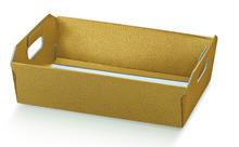 Geschenkkorb Karton 4eckig gold  31x22xH.9 mm : Korb geschenkkorb präsentierungskorb