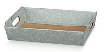 Präsentierungskorb Karton 31x22xH.9 cm grau Damastdruck : Korb geschenkkorb präsentierungskorb