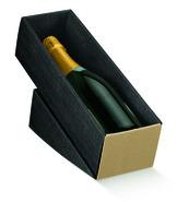 Weinkarton schwarz1 Fl. Wein liegend : Verpackung fur flaschen und regionalprodukte
