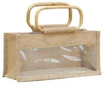 Geschenktasche Jute 3-Gläser 500Gr m. Fenster & Rattangriffen : Verpackung für einmachgläser konfitürenglas preserve