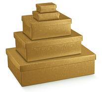 Pappschachtel 2-tlg gold : Geschenkschachtel präsentbox