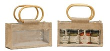 Kauf Geschenktasche Jute 3-Gläser 250Gr m. Fenster & Rattangriffen