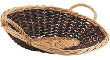 Präsentschale Spaltweide 2farbig rund 40/35xH.10/14 cm : Korb geschenkkorb präsentierungskorb