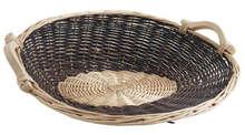 Präsentschale Weide 2farbig rund 56/50xH.19 cm : Korb geschenkkorb präsentierungskorb