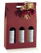 Flaschenkarton rot 3-Flaschen stehend 'Milano' : Verpackung fur flaschen und regionalprodukte