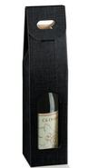 Geschenktasche Pappe 1-Fl. Wein schwarz m. Fenster : Verpackung fur flaschen und regionalprodukte