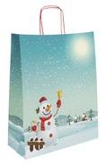 Krafttasche blau Schneemann : Verpackung für feste