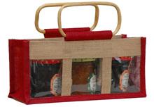 Geschenktasche Jute 3-Gläser (500Gr) m. Fenster & Rattangriffen : Verpackung für einmachgläser konfitürenglas preserve