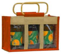 Große Geschenktasche Jute 3-Gläser m. Fenster & Rattangriffen : Verpackung für einmachgläser konfitürenglas preserve