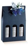 Flaschenkarton dunkelblau 3-Flaschen stehend 'Milano' : Verpackung fur flaschen und regionalprodukte
