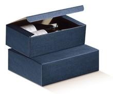 Flaschenkarton dunkelblau 3-Flaschen 'Milano' : Verpackung fur flaschen und regionalprodukte