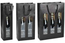 Geschenktasche Kraft schwarz m. Fenster 1/2/3-Flaschen Wein : Verpackung fur flaschen und regionalprodukte