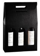 Flaschenkarton schwarz 3-Flaschen stehend 'Milano' : Verpackung fur flaschen und regionalprodukte