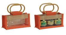 Geschenktasche Jute 3-Gläser 250Gr m. Fenster & Rattangriffen : Verpackung für glasbehälter konfitürenglas preserve