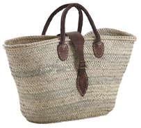 Einkaufskorb Palmblatt m. Lederhenkeln u. Gurt : Ladentaschen einkaufstaschen modetaschen