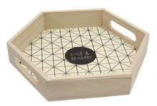 Geschenkschale Holz sechskant m. Griffen 'Smile & be happy' : Plateaux & planches