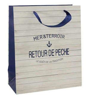 Geschenktasche Pappe weiss-blau m. Tragebändern 'Fischer'  : Verpackung fur flaschen und regionalprodukte