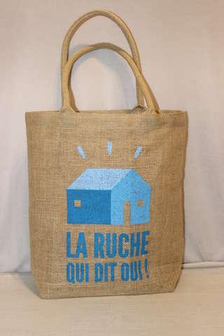 Einkaufstasche Jute naturbraun bedruckt 'La ruche qui dit oui' : Ladentaschen einkaufstaschen modetaschen