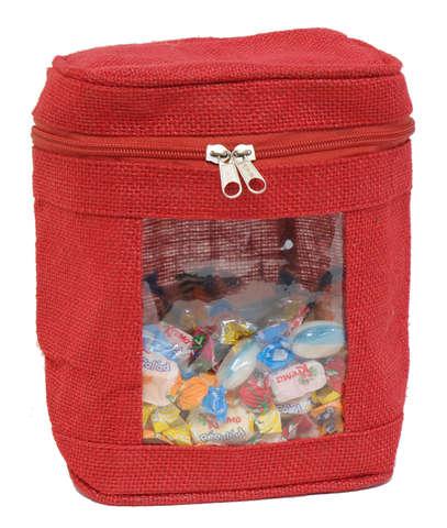 Einstecktasche Jute rot m. Reissverschluss : Verpackung für feste