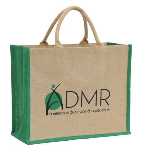 Einkaufstasche Shopper Jute naturbraun m. Baumwollen-Rundgriffen : Ladentaschen einkaufstaschen
