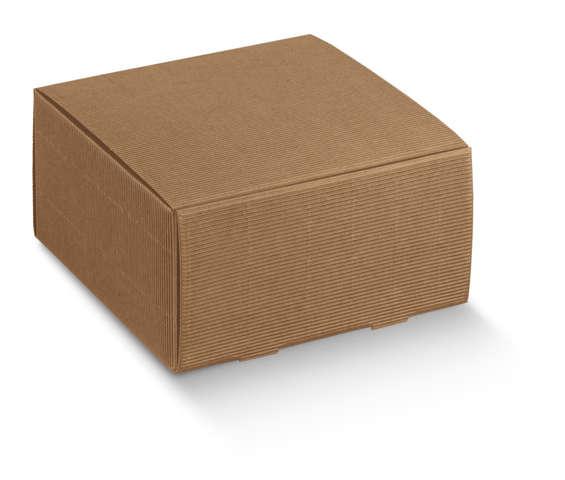 Pappschachtel braun gerippt 4-eckig m. Deckel : Geschenkschachtel präsentbox