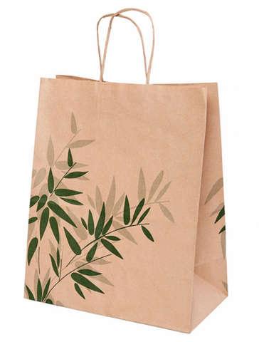 Krafttasche m. Papierkordeln 'Bambusblätter' : Ladentaschen einkaufstaschen modetaschen