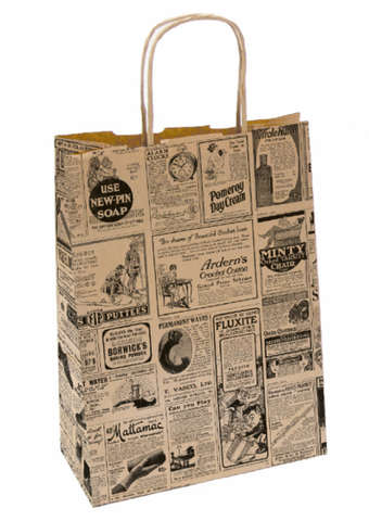 Krafttasche m. Papierkordeln 'Zeitung vintage' : Ladentaschen einkaufstaschen modetaschen