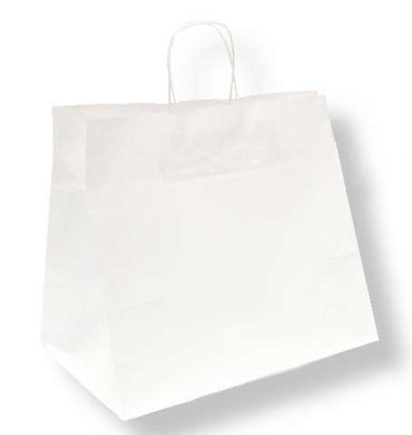 Krafttasche weiss m. breitem Boden für Kuchen und Menüschalen : Ladentaschen einkaufstaschen