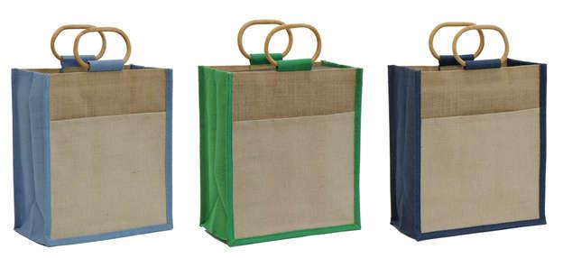 Tragetasche Jute 2-farbig m. Rattangriffen : Ladentaschen einkaufstaschen modetaschen