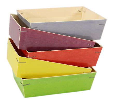 5 St. bunte Holzkisten MALAGA : Korb geschenkkorb präsentierungskorb