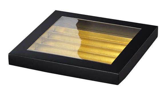 Geschenkschachtel m. Schubfächern für Pralinen schwarz/gold : Geschenkschachtel präsentbox