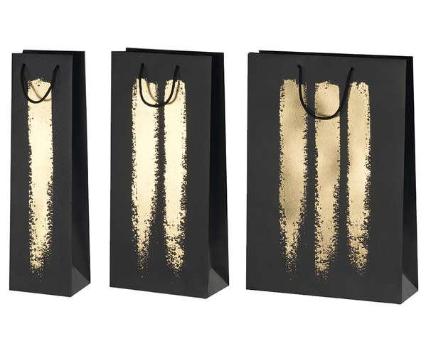 Flaschentasche schwarz/gold m. Tragekordeln : Verpackung fur flaschen und regionalprodukte
