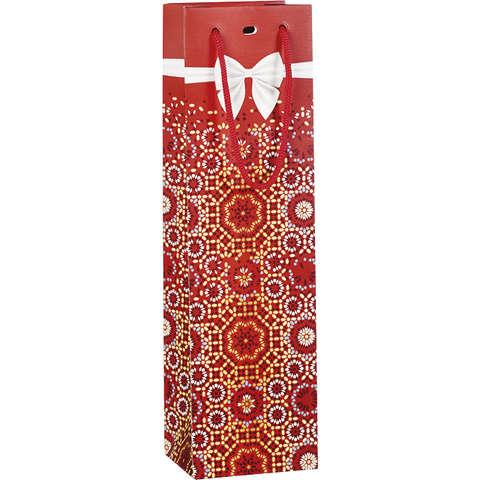 Flaschentasche rot/gold m. Tragekordeln 'Schleife' : Verpackung fur flaschen und regionalprodukte