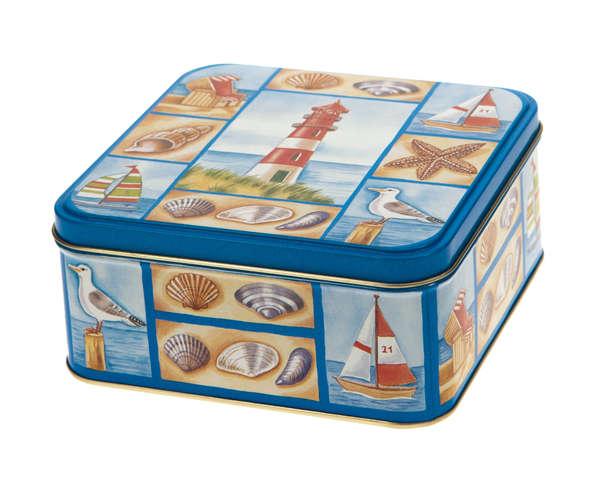 Metallbox 4-eckig 'Seeküste' : Geschenkschachtel präsentbox