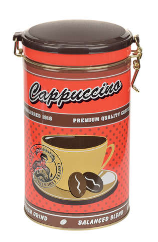 Metalldose rund für Kaffee 'Capuccino' : Geschenkschachtel präsentbox