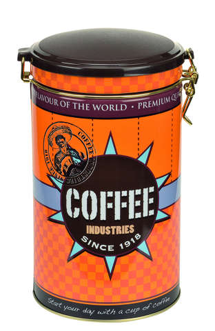 Metalldose rund für Kaffee 'Coffee Industries' : Geschenkschachtel präsentbox