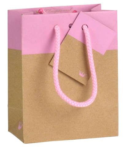 Geschenktasche Kraft zweifarbig Chic ROSA : Ladentaschen einkaufstaschen modetaschen