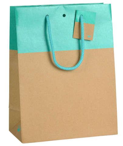 Geschenktasche Kraft zweifarbig 'Chic Lagoon' : Ladentaschen einkaufstaschen modetaschen