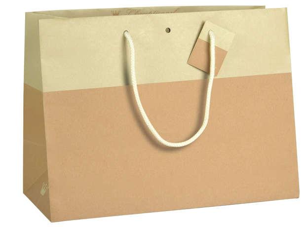 Geschenktasche Kraft zweifarbig Chic BEIGE : Ladentaschen einkaufstaschen modetaschen