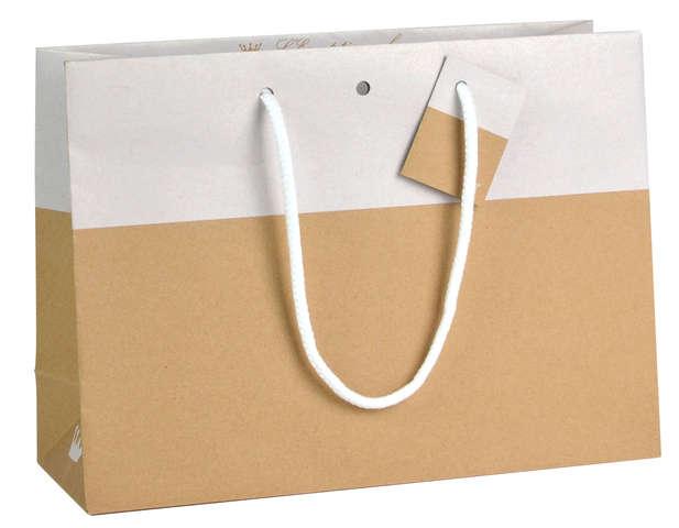 Geschenktasche Kraft zweifarbig Chic WHITE : Ladentaschen einkaufstaschen modetaschen