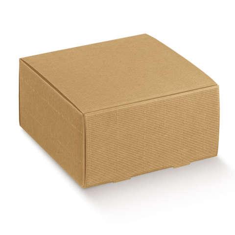 Kartonbox braun gerippt mit Deckel : Geschenkschachtel präsentbox