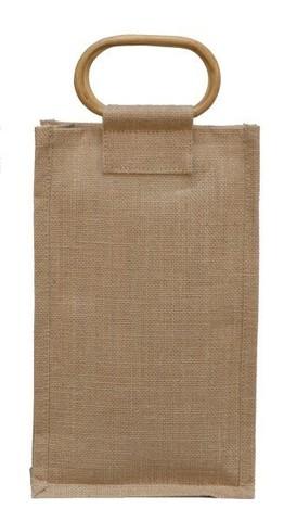 Geschenktasche Jute 2-Flaschen m. Rattangriffen : Verpackung fur flaschen und regionalprodukte