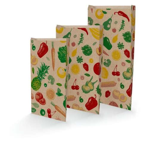 Krafttüte braun gerippt gedruckt 'Obst u. Gemüse' : Verpackung für bäkerei konditorei