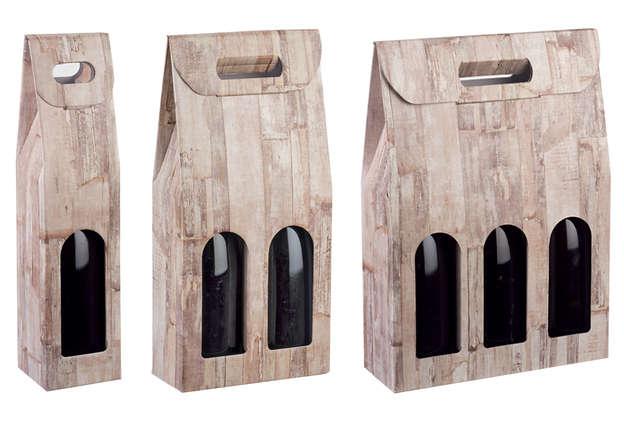 Geschenkkarton Wein 1/2/3-Flaschen stehend 'Holzbrettchen' : Verpackung fur flaschen und regionalprodukte