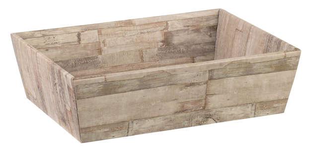 Präsentierungskiste 4eckig Pappe 'Holzbrettchen' : Korb geschenkkorb präsentierungskorb