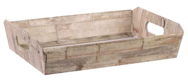 Präsentierungstablett 4eckig Pappe 'Holzbrettchen' : Korb geschenkkorb präsentierungskorb