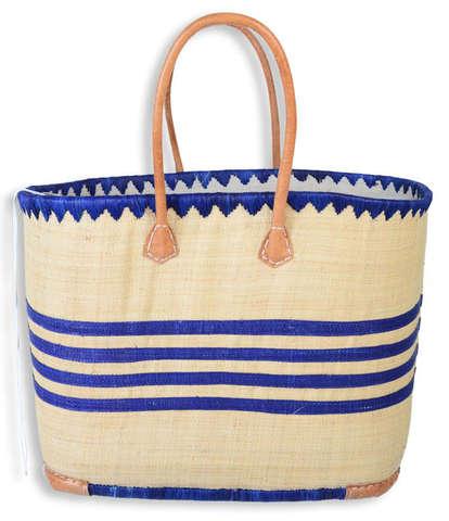 großer Bastkorb Shopper m. Ledergriffen : Ladentaschen einkaufstaschen