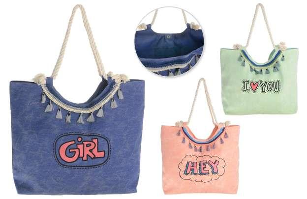 3er-Handtasche Baumwolle m. Motiv : Ladentaschen einkaufstaschen modetaschen
