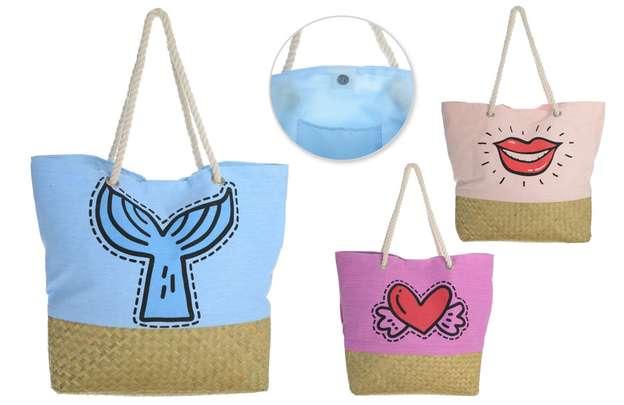 3er-Handtasche Baumwolle Palmblatt m. Kordeln : Ladentaschen einkaufstaschen